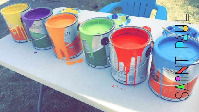 Stone painting - paint cans 2